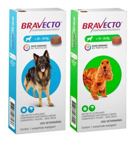 Bravecto Cães Combo 2 Unidades 1 X De 10 A 20kg E 1 De 20 A