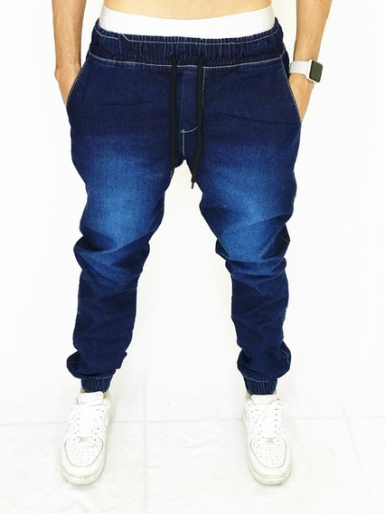Calça Jogger Feminina Camuflada Cinza Azul Jeans Sarja