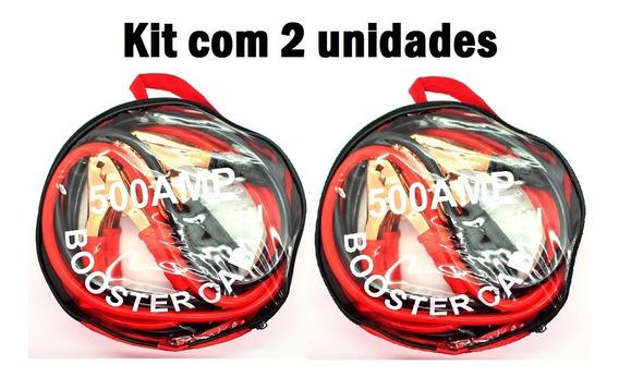 Kit 2 Cabos Chupeta 500 Amper P/ Partida Carro Moto Bateria