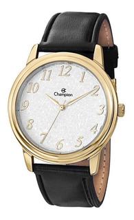 Relógio Masculino Dourado Champion Pulseira De Couro Preto