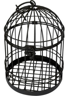 Jaula Decorativa Metal De 22 Cm Color Negro