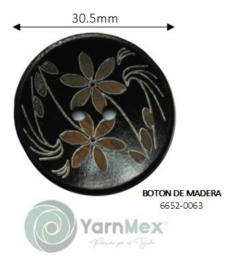 Botón De Madera | 6652-0063 - 50pzas
