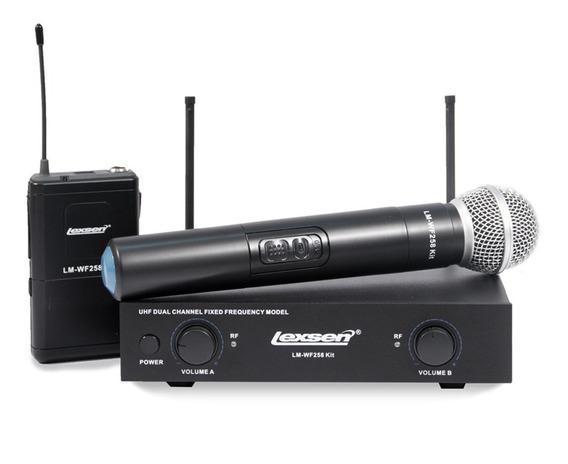 Kit Microfone Sem Fio Lexsen Lm-wf258 Bastão+headset+lapela