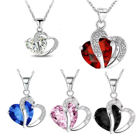 Collar Y Dije Corazon De Diamante Envío Gratis
