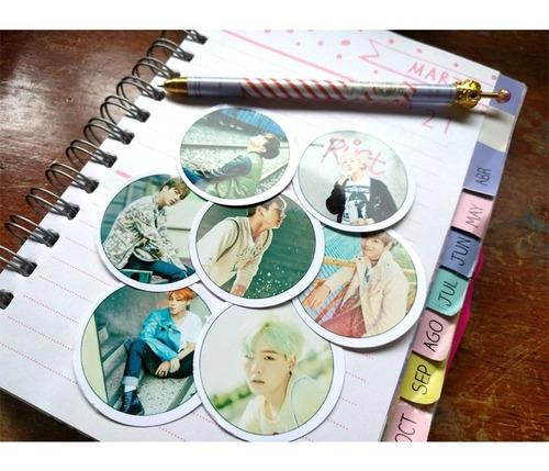 Set De 7 Stickers Circulares De K-pop - Bts