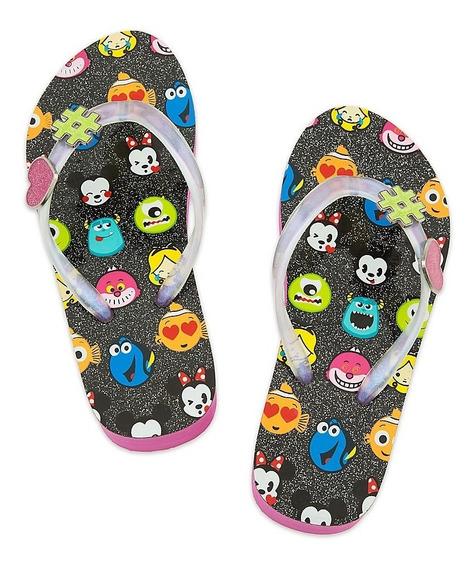 Ojotas Emoji Disney Rosa Y Gris C/plataforma Disney Store!