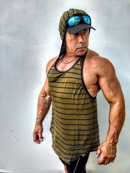 Musculosa Entrenamiento Gym Rayada Ghost