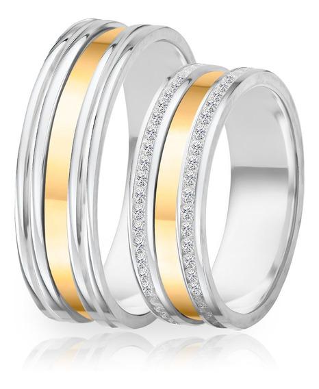 Alianças De Namoro Prata 950 Polida Com Ouro 6.2 Mm