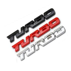 2 Emblemas Turbo Adesivo 3d Carro Metal Auto Relevo