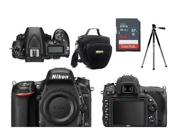 Nikon D750 Corpo Full Frame + Bolsa+tripé+64gb Nota Fiscal