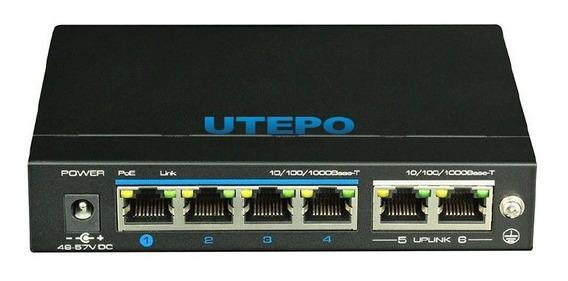 Switch Ethernet Poe De 4 Portas Gigabit Utepo Utp3-gsw04-tp6