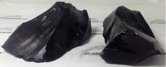 2 Obsidianas Brutas - G159 - Prosperity Minerais