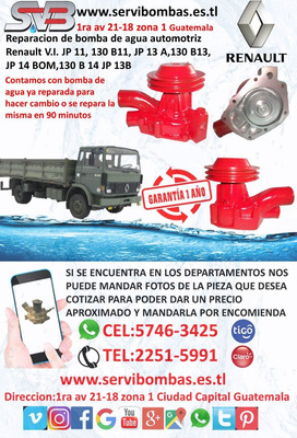 Bomba De Agua Automotriz Renault Mack Guatemala