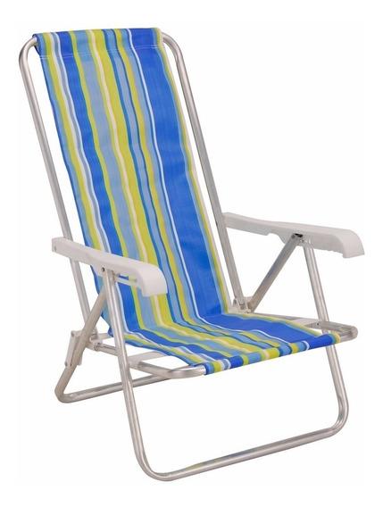 Cadeira Praia Piscina Camping Alumínio 4 Posições Dobrável