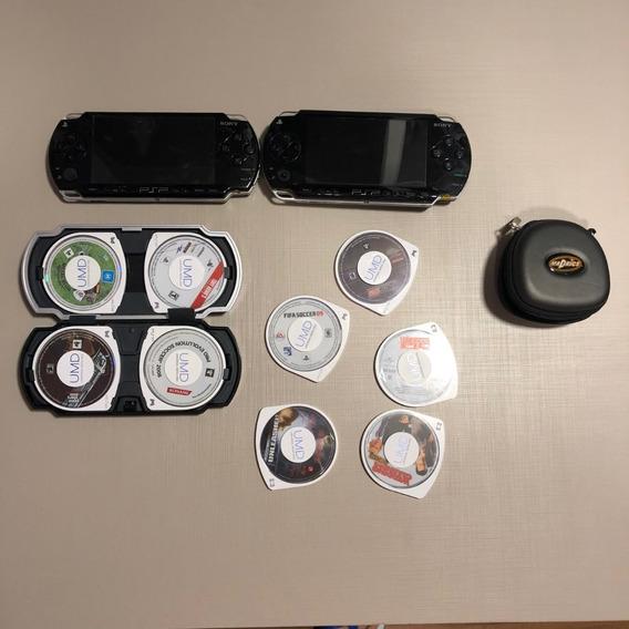 Sony Psp 2000 + Psp 1000 + 9 Fitas + Carregador Kit