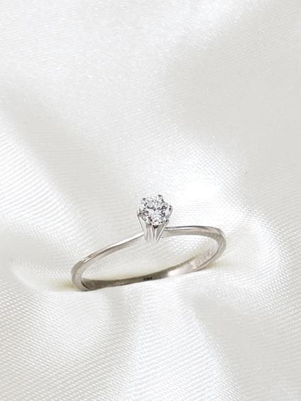 Anel Solitário Moderno Ouro Branco Com Diamante De 18 Pontos