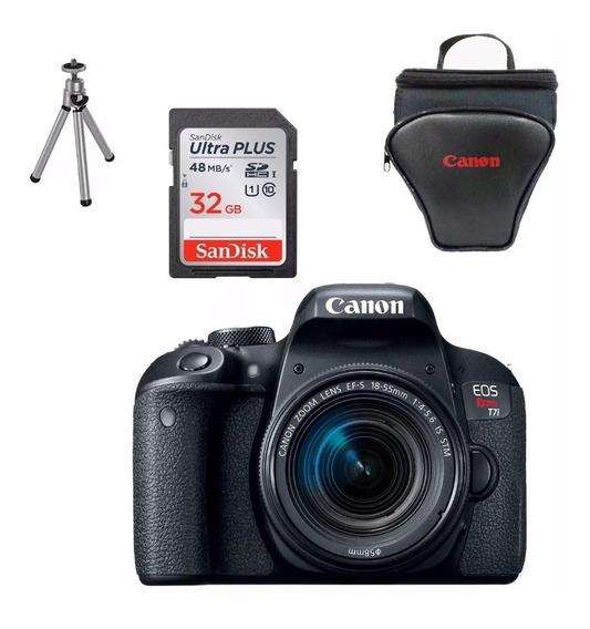 Canon T7i + Lente18-55 +32gb +bolsa + Mini Tripé