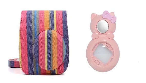 Bolsa De Tecido Colorida + Lente Gato Rosa Instax Mini