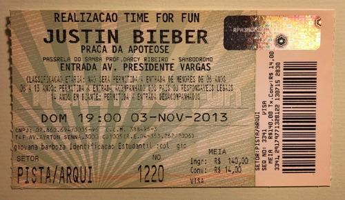 2 Ingressos Show Justin Bieber Brasil Rj 2013 Colecionador