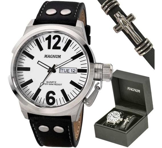 Kit Relógio Magnum Masculino Com Pulseira Ma31524d