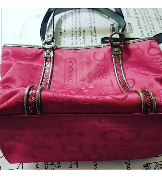 Bolsa Coach Usa ,pink E Silver Exclusiva Em Perfeito Estado