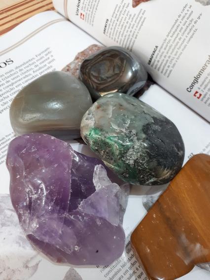Kit 05 Pedras Polidas Semipreciosas Cristais Grandes 860g