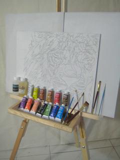 Pintura Oleo, Bastidor, Caballete, Pinceles, Kit, Paquete