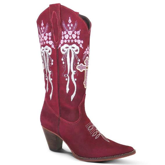 Bota Country Texana Couro Nobuck Feminina Silverado Bordô