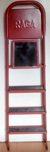 Escalera Raga Hierro Roja Plegable Bandeja 4 Peldaño Liviana
