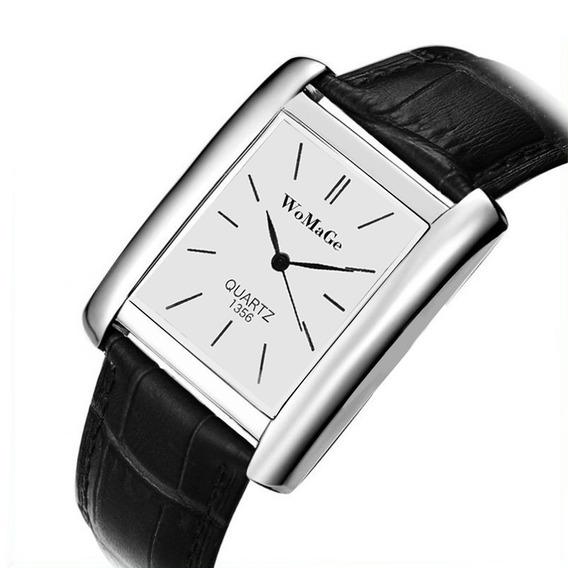 Relógio Retangular Prata Unissex Pulseira Preto Rg009u