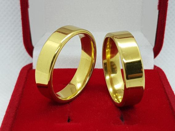 Aliança Anel De Compromisso 6mm Banhado A Ouro 18k Garantia.
