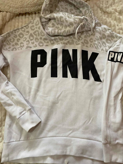 Sudadera Blanca Cuello Chimenea Victoria Secret Pink Xs