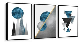 Quadros Abstratos Tons Neutros Moldura Lisa Escritório