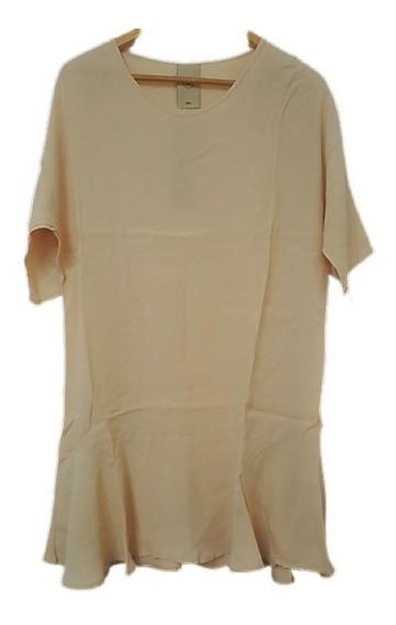 Vestido Mujer Crepe Suelto Volados Vestidos Cómodos