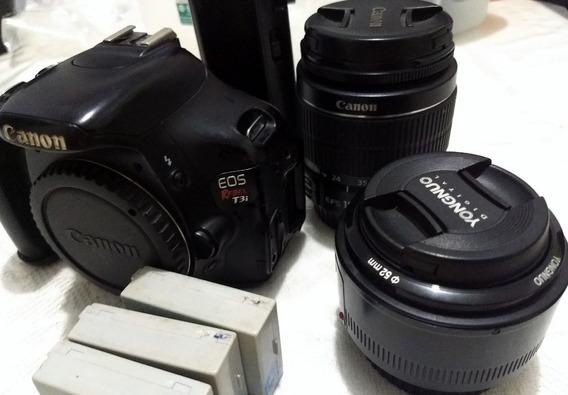 Canon T3i [defeito], Lentes: 50 Mm E 18-55mm, Grip + 3 Bater