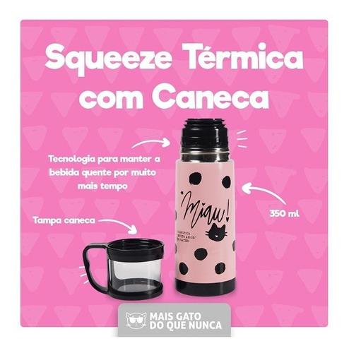 Garrafa Térmica Com Caneca 350 Ml - Gatinha