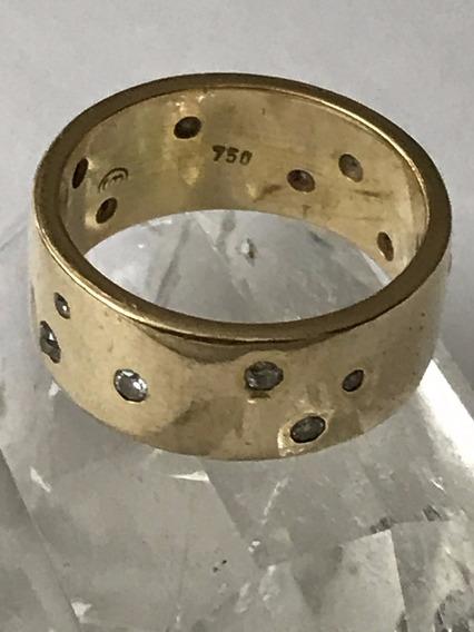Anel Em Ouro 18k-750 Aro 15/16 Peso 9.2 G Com Diamantes