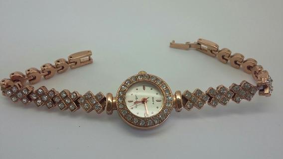 Relógio Dourado Rose Com Pedras Sintéticas De Alto Brilho
