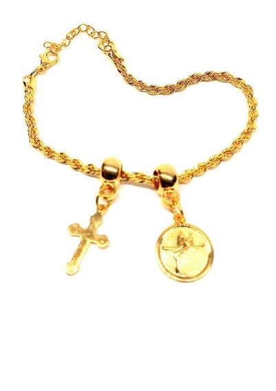 Pulseira Folheada Ouro 18 Cm Pingente Cruz E Medalha