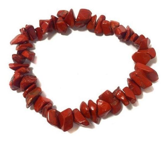 Pulseira Pedra Energia Cascalho Jaspe Vermelho Cristal 122