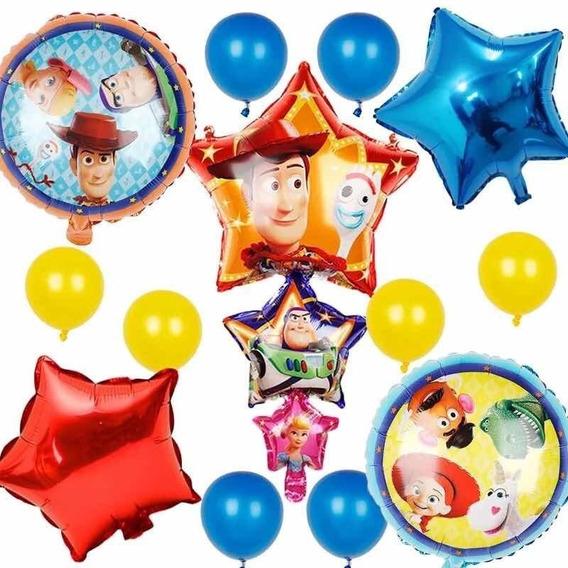 Set De 13 Globos Toy Story Woody Forky Buzz Fiesta Cumpleaño