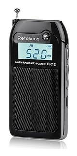 Retekess Pr12 Radio Fm Portatil Con Reproductor Mp3 Bateria
