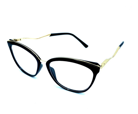 Óculos Sem Grau Armaçaoes Acetato Metal Cat Chic Estiloso