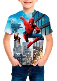 Camiseta Infantil Homem Aranha De Volta Ao Lar Mod 05