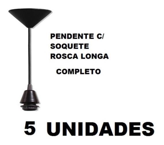 5 Fios Pendente Preto Completo Soquete E27 Luminária Lustre