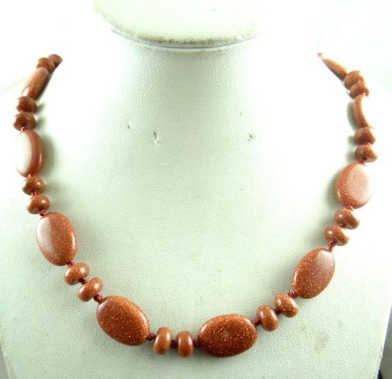 Colar Feminino Pedra Do Sol Marrom Cintilante Natural J3223