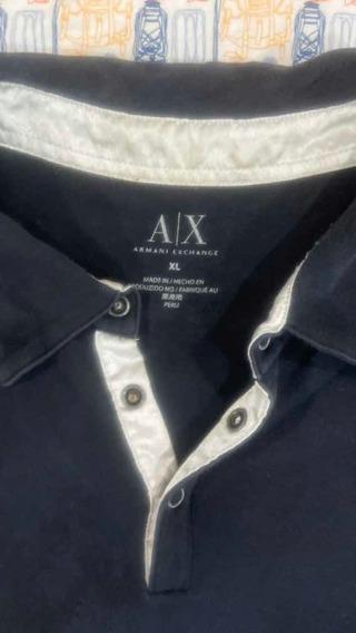 Polo Armani Exchange Talla Xl Negro Con Detalles Plateados