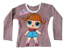 Kit 10 Camiseta Blusa Manga Longa Infantil Menina Personagem