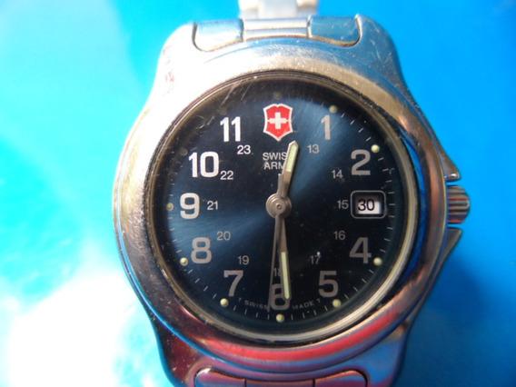 Relógio Swiss Army Brand Calendário Fundo Azul Escuro Metal