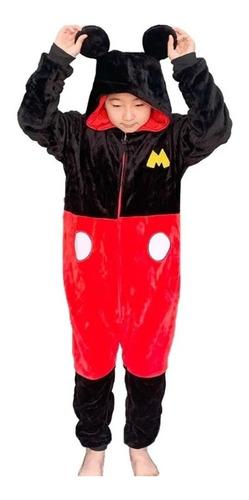 Pijama Macacão Infantil Pelúcia Kigurumi Mickey Mouse Disney